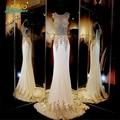 Lindo Sereia vestidos de Baile frisado Apliques Dourados Sexy Espumante Evening Prom vestidos Custom made 2016 Primavera vestido do baile de finalistas