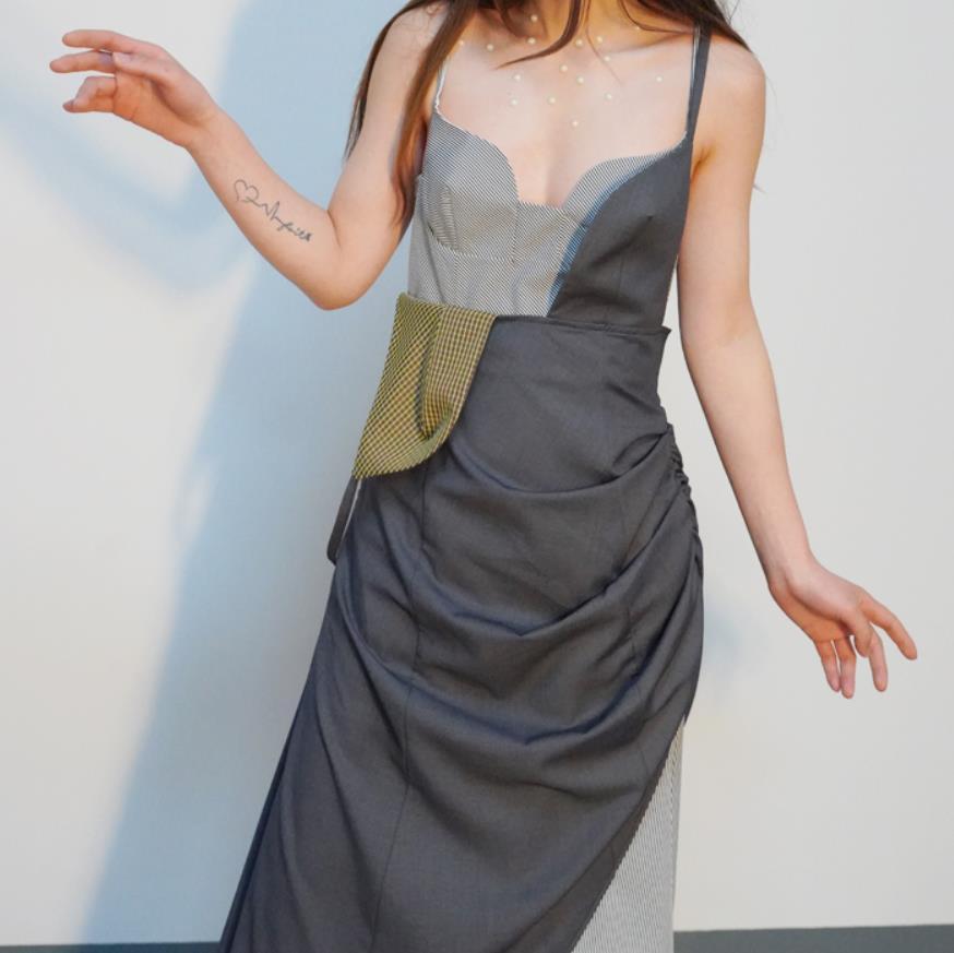 2019 printemps été robe femmes Dot imprimé cravate asymétrique robe décontracté sans manches élégant à volants robe Vestidos H11
