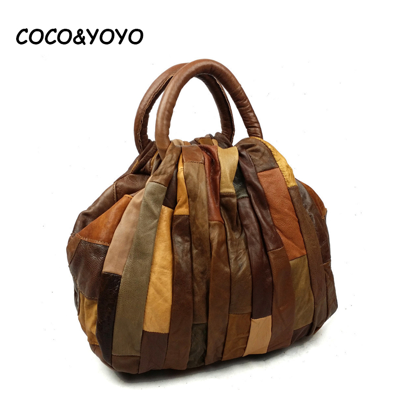 ФОТО New 2017 Fashion Genuine Leather Women Handbag Patchwork Natural Cow leather Shoulder Bag Famous Brand Women Bag Casual Tote sac
