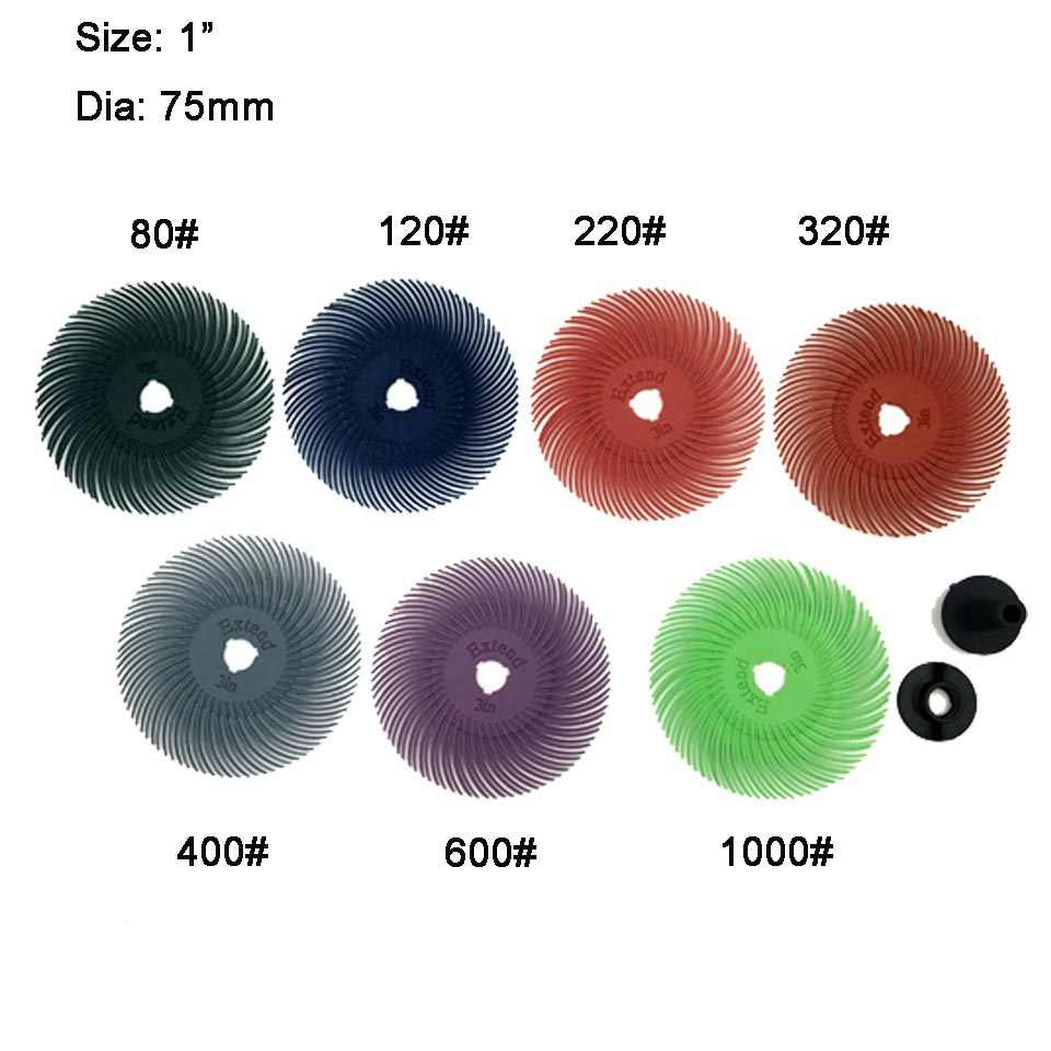 3 inch Radial Bristle Brush Abrasive wheel jewellery grit:220 used with polishin