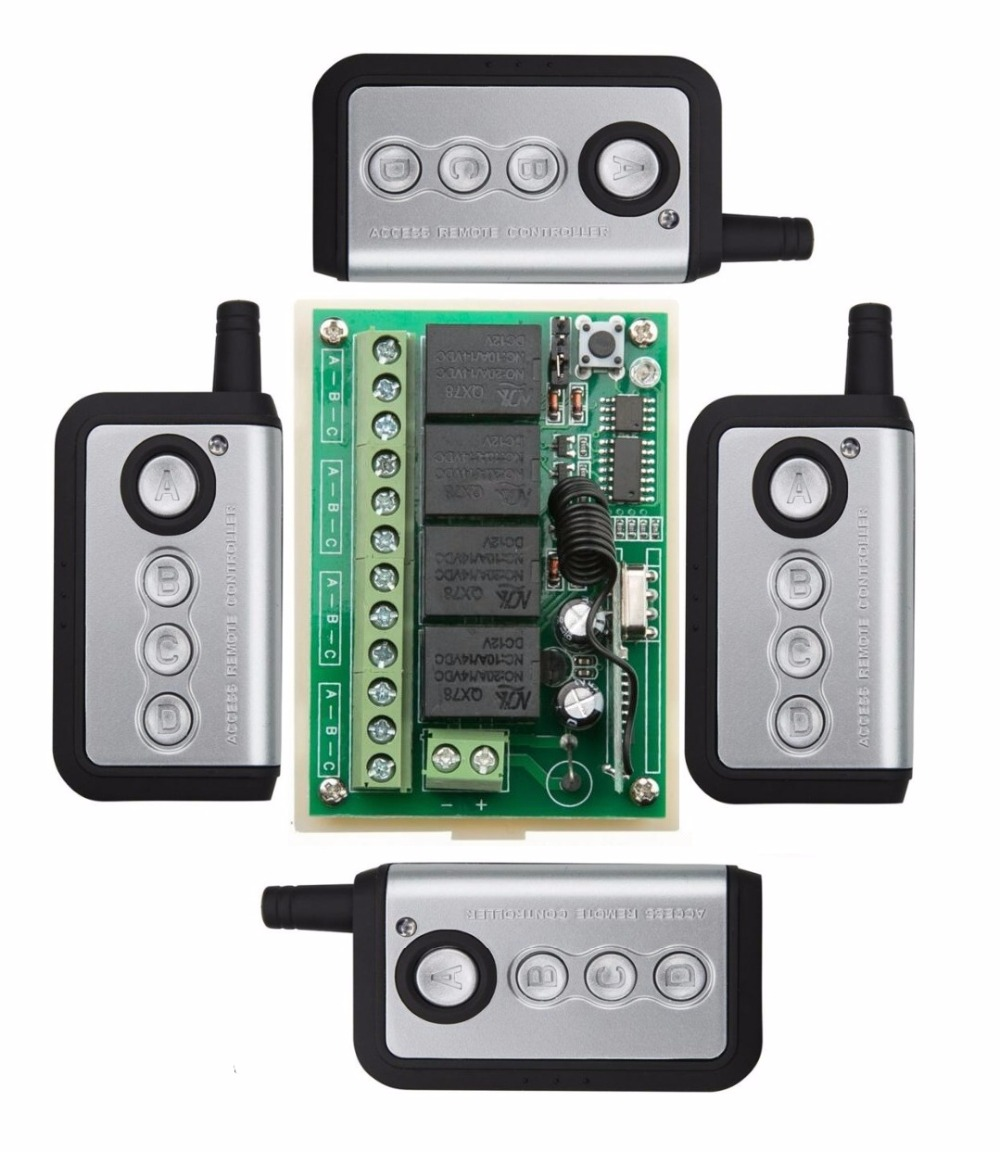 DC12V 10A 4CH Radio Controller RF Wireless Relay Remote Control Switch 315 MHZ 433 MHZ 4 * Transmitter + Receiver /lamp/ window dc 12v 1 ch relay receiver wireless remote control switch 315 433 92 rf radio frequency rx learning momentary toggle latched