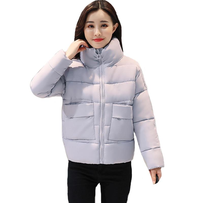 Stand Collar Winter Jacket Women With Big Pockets Outwear Womens Winter Jackets Short Casaco Feminino Inverno 2019 Coat Parka