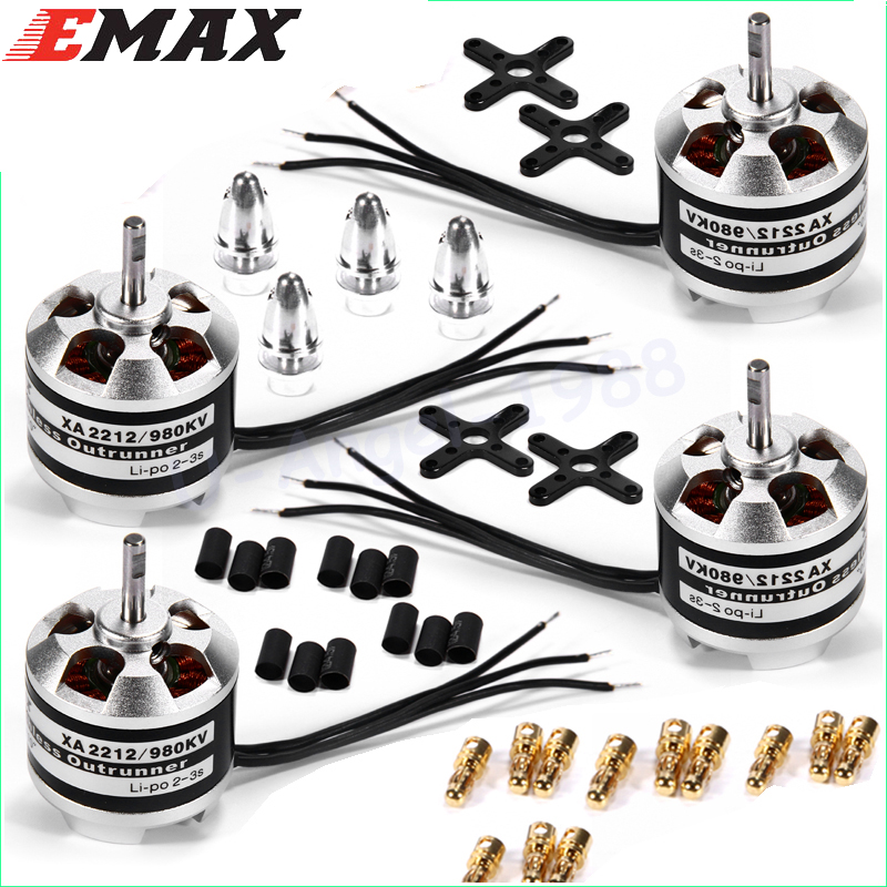 4set/lot Original Emax XA2212 820KV 980KV 1400KV 3S Brushless Motor for Mini 250 280 FPV Quadcopter Quadcopter 4x emax mt2213 935kv 2212 brushless motor for dji f450 x525 quadcopter multirotor