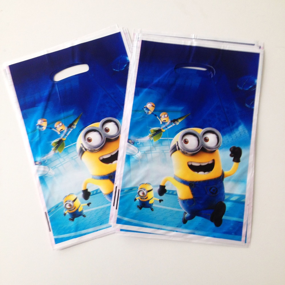 10pc set Minions Gift Bag Cartoon Theme Party For Kids Boys Happy Birthday Decoration Theme Party