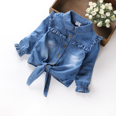 Fashion Girls children's clothing 2017 autumn spring new Denim cardigan jacket children denim shirt kids girls clothing цены онлайн