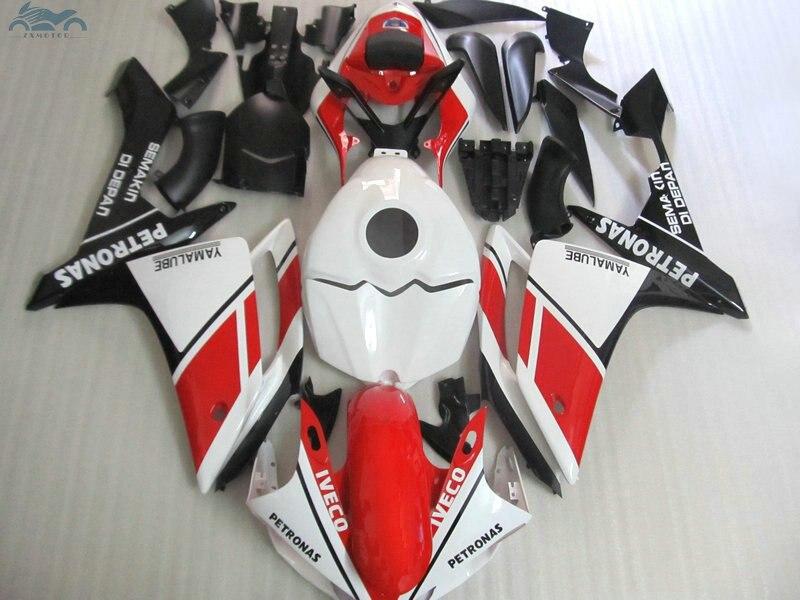 Di alta qualità Iniezione kit carenatura fit per YAMAHA 2007 2008 YZFR1 YZF R1 07 08 rosso bianco nero carenature del motociclo corredi del corpo YB25