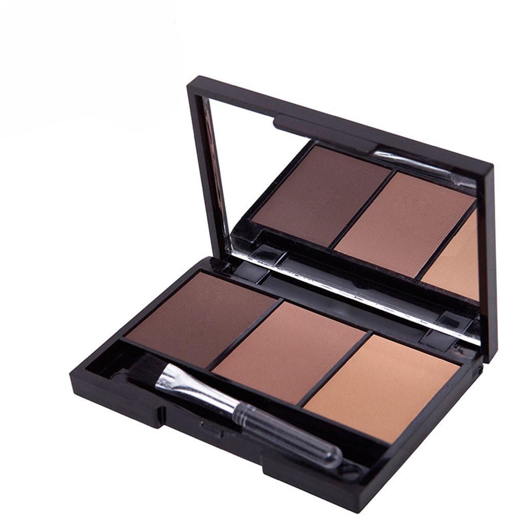 3 Color Eyebrow Powder Palette Cosmetic Brand Eye Brow Enhancer Waterproof Makeup Eye Shadow With Brush Mirror Long Lasting