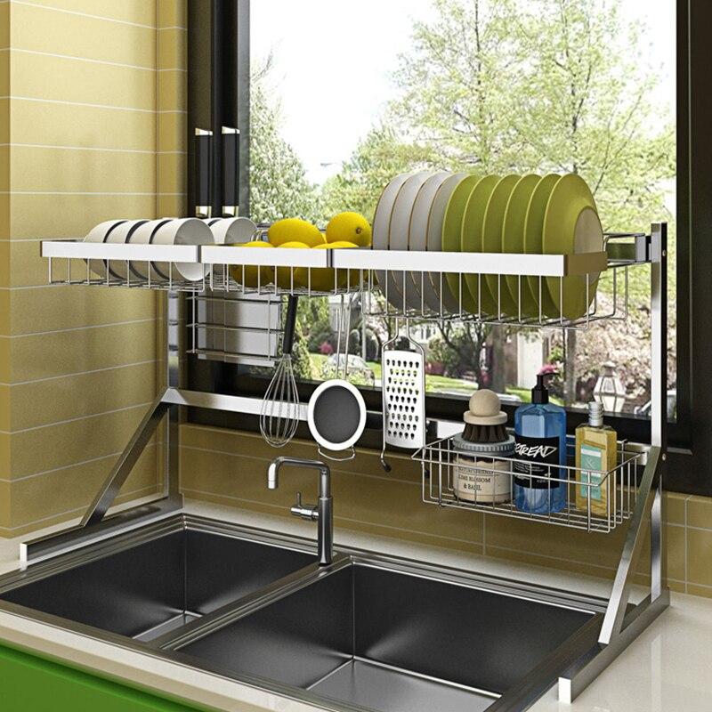 Support à vaisselle en acier inoxydable organisateur de cuisine étagère évier porte-éponge haute capacité vaisselle organisateur égouttoir à vaisselle