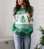 Women Casual Knitted Christmas Sweater Pullover 2018 Autumn Winter Long Sleeve Sweaters Deer Pattern Jumper O Neck Tops Clothing