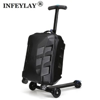 High quality 21 inches boy scooter suitcase trolley case 3D extrusion business Travel cool luggage creative men Boarding box