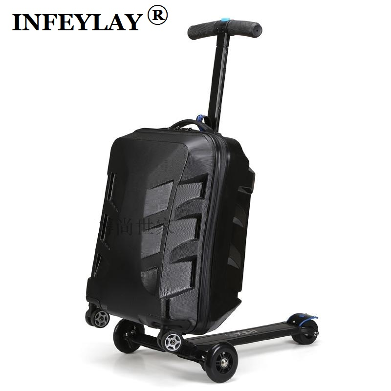 High quality 21 inches boy scooter suitcase trolley case  3D extrusion business Travel cool luggage creative men Boarding box 21 inch students scooter suitcase boy cool trolley case 3d extrusion high quality pc separable travel luggage child boarding box