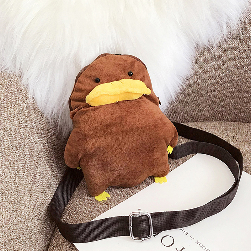 Cartoon chick women Crossbody Bag Plush Casual Chest Shoulder Bags Mini Animal Zipper Chest Pack