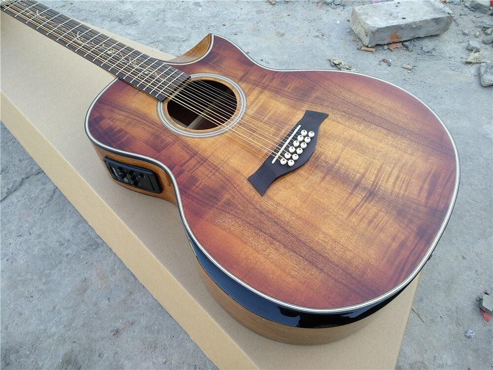 Envío gratis de madera de Koa hecho a mano jumbo acústica de 12 cuerdas reposabrazos biselados cutway de 12 cuerdas de guitarra eléctrica acústica