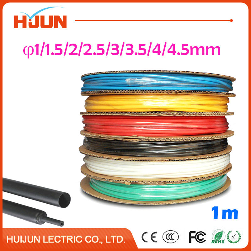 1 Meter/lot 2:1 Black Heat Shrink Tube Heatshrink Tubing Transparent Sleeving Wrap Wire1mm 1.5mm 2mm 2.5mm 3mm 3.5mm 4mm 4.5mm недорого