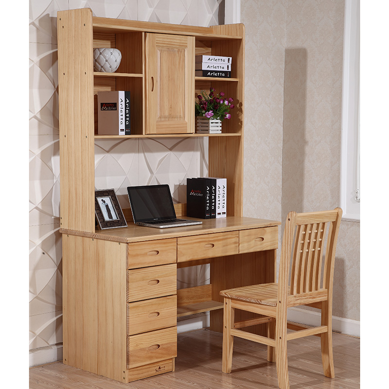 Pure Solid Wood Computer Desk With Bookcase Cabinet