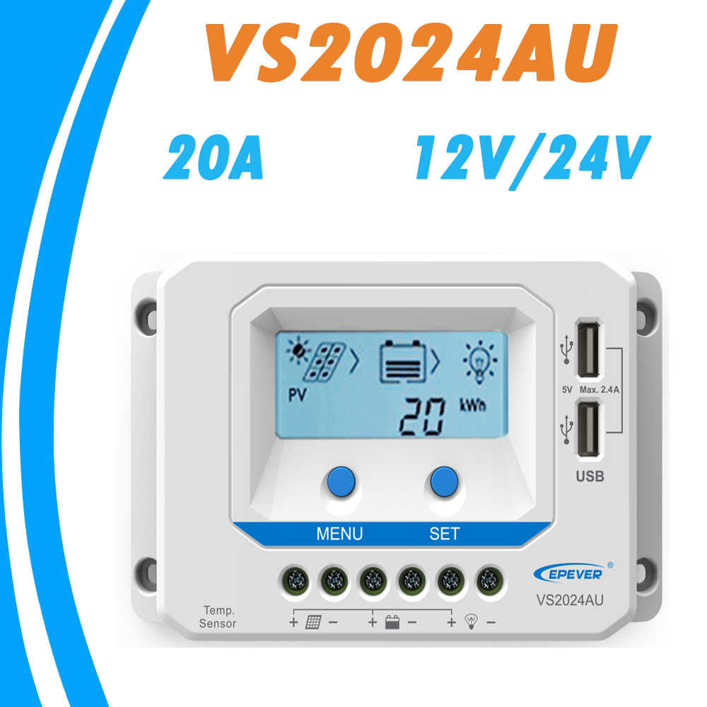 EPever VS2024AU 20A Солнечный Контроллер заряда 12 в 24 В подсветка LCD Dual USB 5 Солнечная