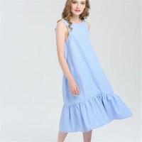 Fashion Cotton Sleeveless Summer Dress 2017 Casual Solid O Neck Beach Maxi Dress S M L