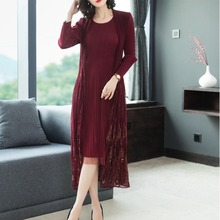 High-end spring fashion chiffon dress 2019 new womens mesh stitching embroidery fake two piece miyak fold Vestidos