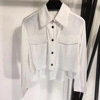 Высокая Низкая блузка для женщин двойной карман рубашки для мальчиков повседневное с длинным рукавом белые топы