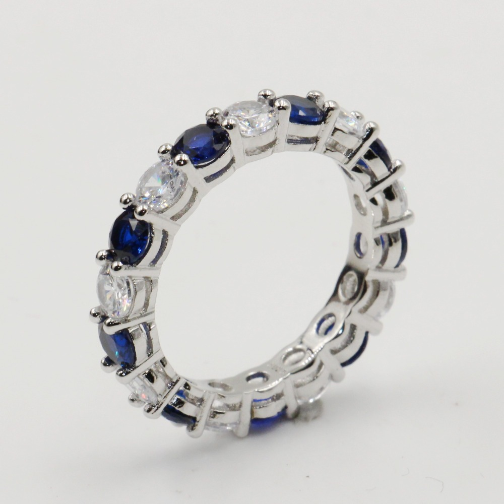 Size 5-10 Real Luxury Jewelry 925 Sterling Silver Circle Stack White&Blue AAAAA Cubic Zirconia Party Wedding Band Ring for WomenSize 5-10 Real Luxury Jewelry 925 Sterling Silver Circle Stack White&Blue AAAAA Cubic Zirconia Party Wedding Band Ring for Women