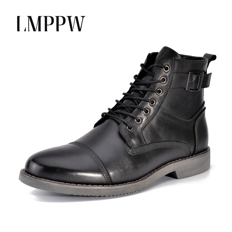 цена на Vintage Men Western Boots Genuine Leather Outdoor Casual Cowboy Martin Boots Luxury Brand Men Ankle Boots 2018 Autumn Men Shoes