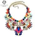 2016 Nueva Moda Za Marca Grande de Lujo de Cristal Collares y Colgantes de La Vendimia Maxi Mujeres Accesorios Cadena Chunky Collares