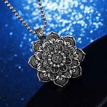 Vintage Alloy Mandala Lotus Flower Pendant Necklaces For Women Charm Leather Chain Amulet Religious loto fiore Unisex Jewelry