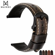 ec6e4550 MAIKES часы аксессуары ремешок 20 мм 22 мм 24 мм 26 мм Винтаж коровья кожа часы  ремешок для Panerai Fossil ремешок для часов