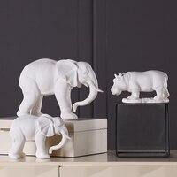 Ev ve Bahçe'ten Statü ve Heykelleri'de Iskandinav basit beyaz seramik hayvan dekorasyon el yapımı fil gergedan Hippo heykeli ev masaüstü süsleme el sanatları hediye