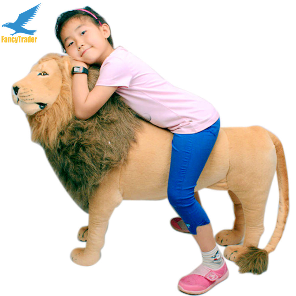Fancytrader As Real 43'' 110cm Giant Soft Plush Stuffed Simulation Lion King Simba Kids can Ride FT90284 fancytrader new style giant plush stuffed kids toys lovely rubber duck 39 100cm yellow rubber duck free shipping ft90122