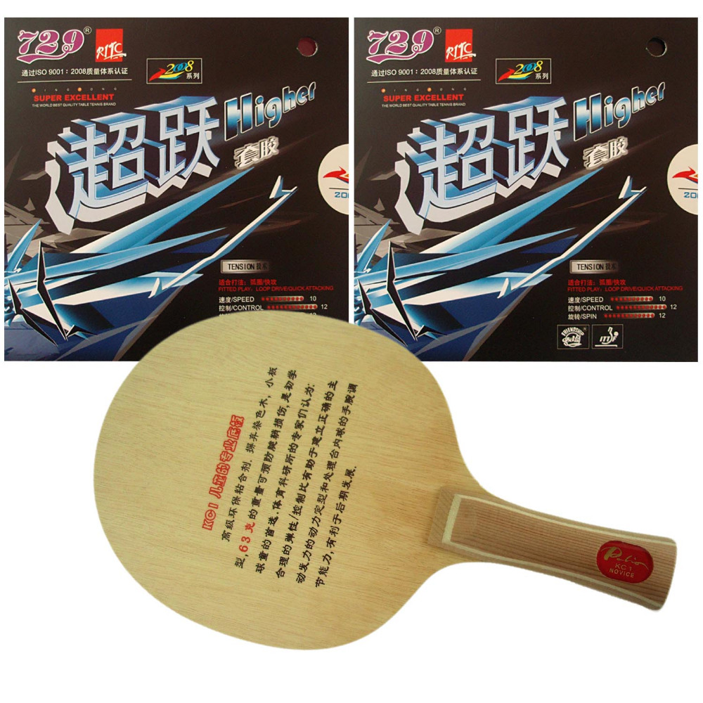 Pro Table Tennis/ PingPong Combo Racket: Palio KC1 (for children) Blade with 2x RITC729 Higher Rubbers Long shakehand FL pro table tennis pingpong combo racket dhs power g7 blade with 2x palio ak 47 red matt rubbers shakehand long handle fl