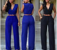 2019 Most Popular Women Jumpsuit Romper  Sleeveness V Neck Casual Playsuit Overalls Ladies Solid Candy Colors