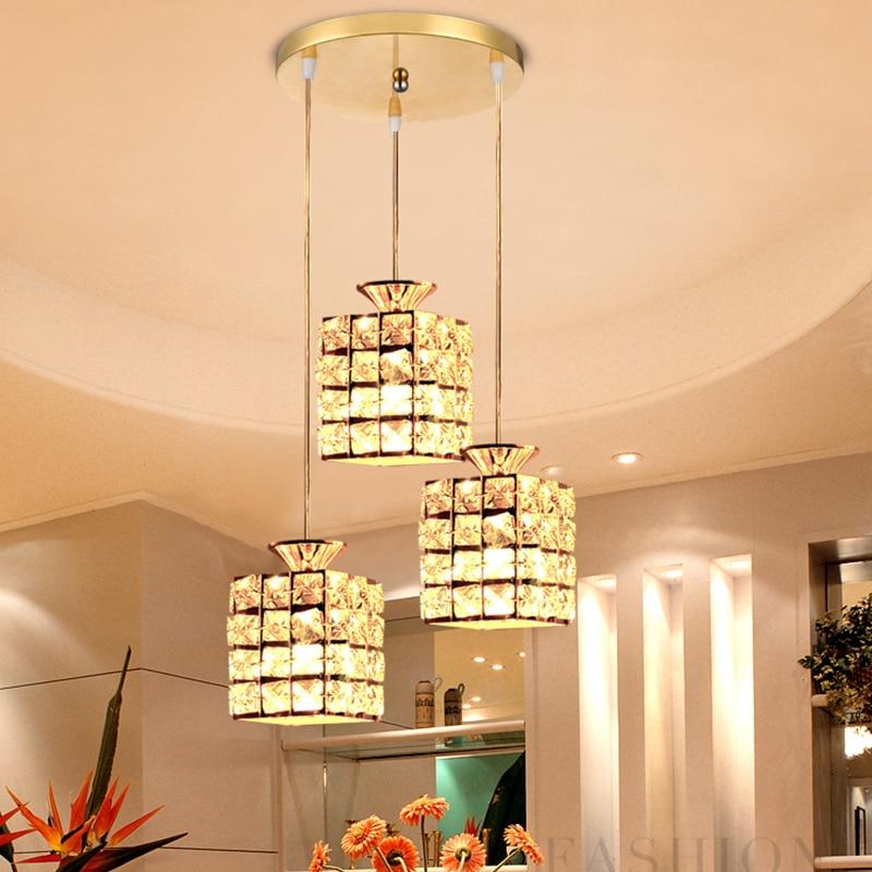 все цены на 1G211S Restaurant lamp three head 3 modern simple crystal lamp dining room light fashion creative personality pendant light онлайн