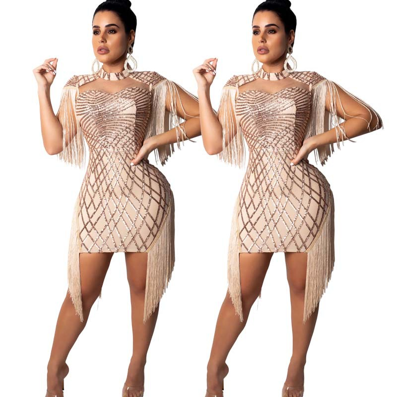 Hot selling womens fashion sexy sequined fringed dresses