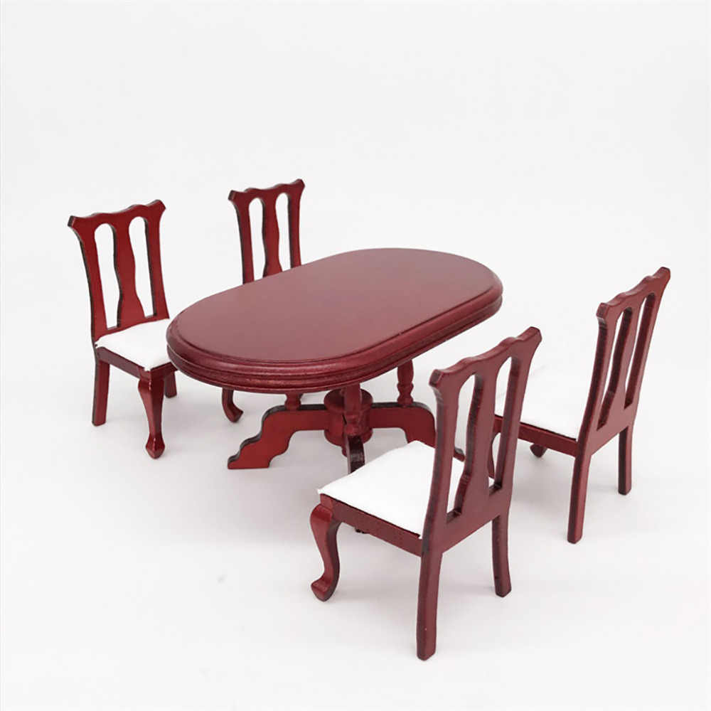 1:12 furniture toy pretend play toys miniature Red Wooden Dining Table for Dolls dollhouse girls children kids  gifts Chair Set