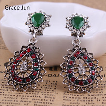 Grace Jun 2 Color Choose Vintage Silver Plated Clip Earrings Without Piercing for Women Party Charm No Hole Ear Clip Hot Sale