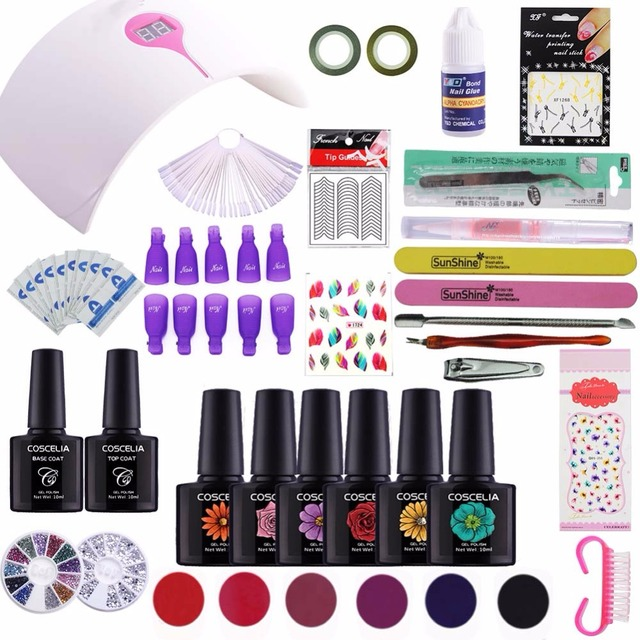 LED Gel Nail Polish Manicure Set 36/24/12W UV Lamp for Nail Dryer ...