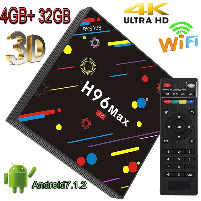 H96 MAX Android 7.1 TV Box 4GB RAM 32GB ROM Set Top Box RK3328 2.4G/5G Wifi Bluetooth 4.0 4K Media Player iptv Smart TV Box