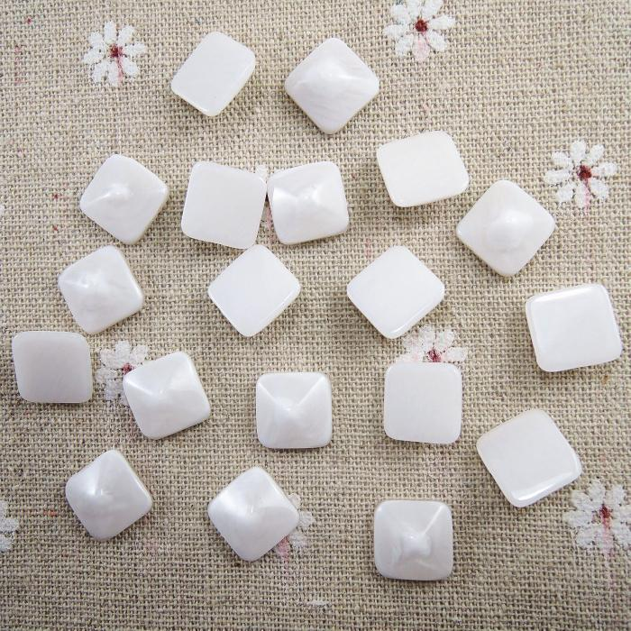 Straightforward Wholesale 12mm White Square Acrylic Marbling Loose Half Flat Back Beads Craft Scrapbooking Diy Decor Accessories 50pcs Ha-03 Durable In Use Beads