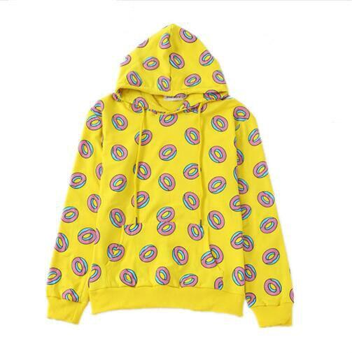 2018 Autumn Cute Donut Print Pullovers Women Hoodies Sweatshirts Yellow Unisex Sudaderas Mujer Fashion Sportwear