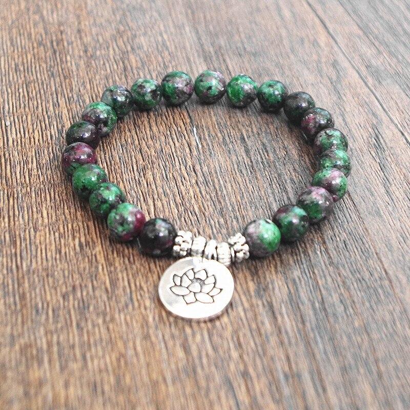 8e9fa303788e Pulsera de hilo de cuentas de piedra Natural Yoga Chakra Mala pulseras de  oración mujeres hombres encanto joyería saludable pulsera elástica tibetana  ...