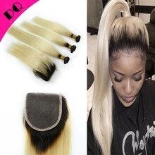 Brazilian Virgin Hair With Closure 100% Human Hair With Lace Closure Braziliian Ombre Hair Extension 3 Bundles With Closure