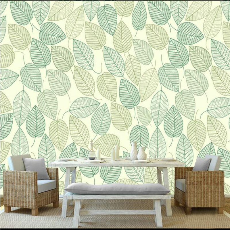 Living Walls Wallpaper Modern Minimalist Leaf Leaves Fresh Restaurant Wall Paper Non-Woven Fabric Wall Mural New Photo Wallpaper non woven fabric wallpaper for walls roll modern minimalist 3d relief lattice striped wall decoration wall paper for living room