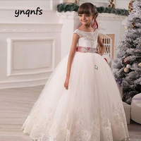 Ynqnfs Flower Girl Dressup Kids Formal Ball Gown Princess Party Prom Birthday communion dressup beauty dress bow tie