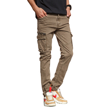 Wiosna jesień męskie bawełniane spodnie Cargo Khaki na co dzień wielu kieszeni mężczyźni na zewnątrz wysokiej jakości długie spodnie Slim fit G3535 tanie tanio Pełnej długości Safari Style BOSIBIO 2 36-3 18 Mieszkanie Suknem G3562 Elastan COTTON Cargo pants Midweight Kieszenie