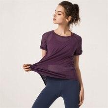 Быстросохнущие подходят для йоги топы для женщин Спортивная футболка спортивные майки фитнес Рубашка Йога бег футболки женские спортивные топы