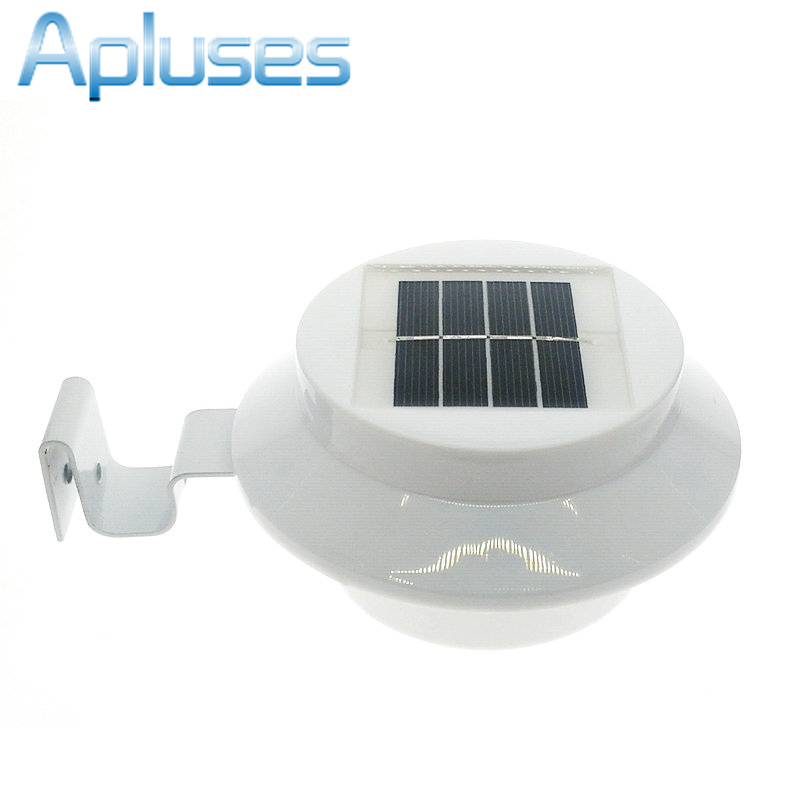 New Hot Sale 3 LED Solar Powered Fence Gutter Light Outdoor Garden Wall Lobby Pathway Lamp Solar Panel Home Decor hot sale outdoor solar powered 3 led cool white warm white light fence gutter garden yard roof wall lamp light free shipping