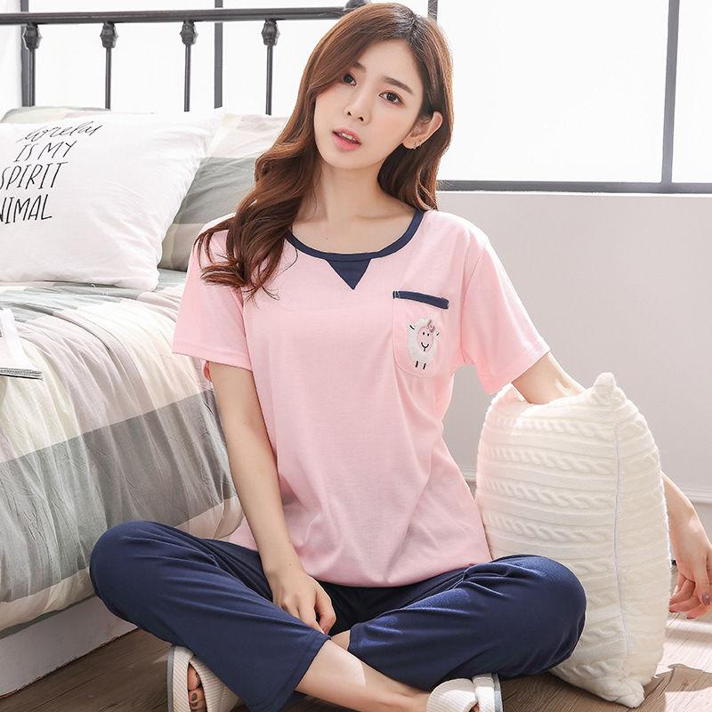 Women's Pajamas Sets 100% Knit Cotton Fresh Cartoon Cute Casual Soft Sleepwear 2018 Autumn Winter New Fashion Women Home Suit