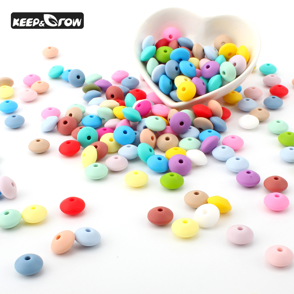 KEEP&GROW 100Pcs Lentil Silicone Beads Food Grade Silicone Bead 12mm Baby Silicone Beads DIY Pacifier Pendant Baby Teething Toys
