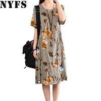 2017 New Summer Dress Casual Plus Size Women Dress Vintage Printing Cotton Linen Loose Long Dress